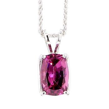 "2ct Cushion Cut Pink Tourmaline Necklace 18"""