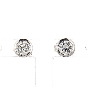 1/2ct Bezel Set Diamond Earrings