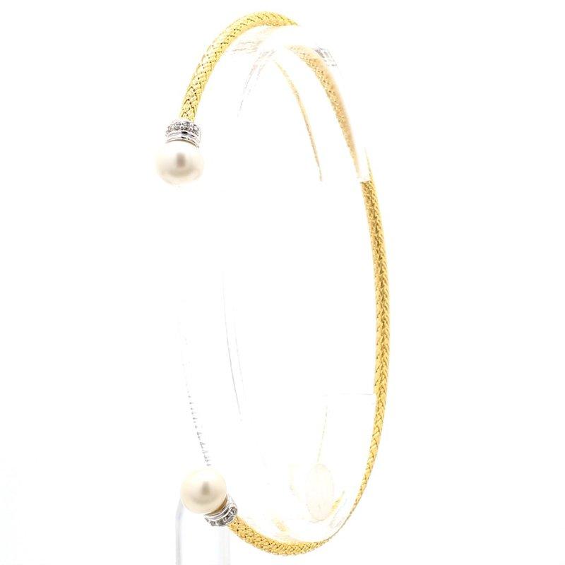 """Open Ended Mesh Pearl Bracelet 6.75"""" 2.2mm"""