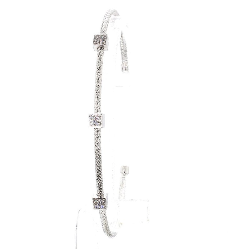"Mesh Station Bangle Bracelet 6.75"" x  2.75mm"