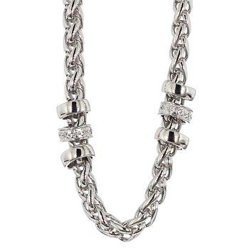 Sterling Silver & Diamond Station Necklace