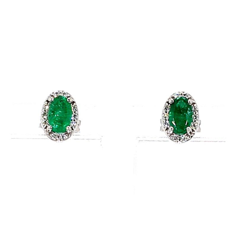 3/5ct Emerald & Diamond Halo Stud Earrings