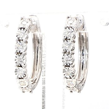 1/4ct Oval Diamond Hoop Earrings