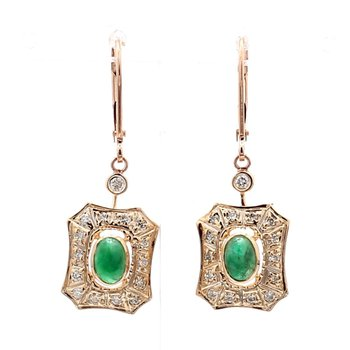 1 1/3ct Vintage Emerald & Diamond Earrings