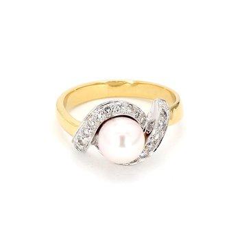 1/3ct Diamond & Pearl Infinity Style Ring