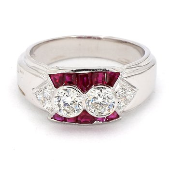 1 1/3ct Antique Diamond and Ruby Ring