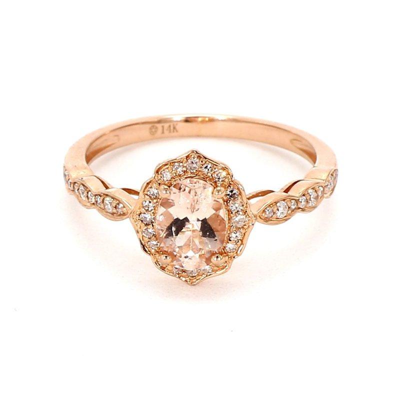 Rose Gold Morganite Halo RIng