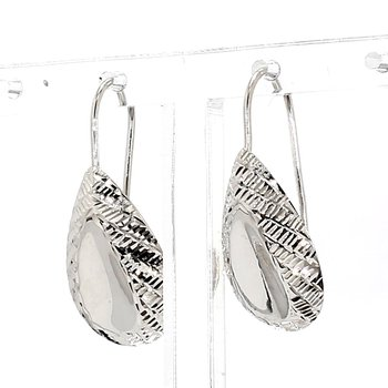 14KT White Gold Estate Textured Tear Drop Earrings