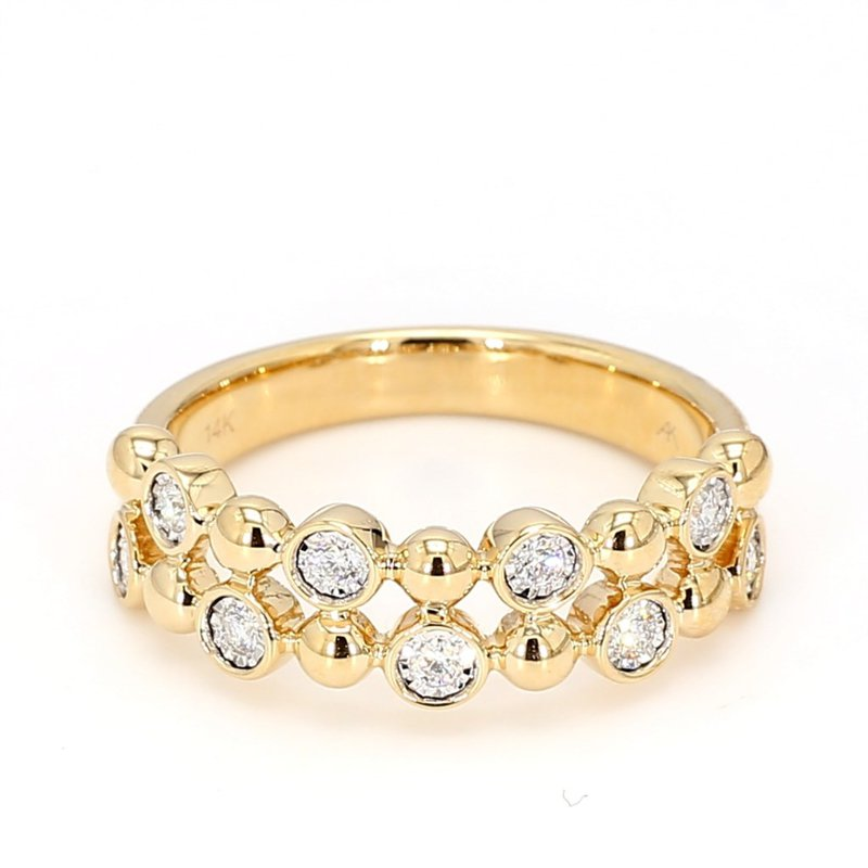 14Kt Bubble Style Double Row Diamond Ring