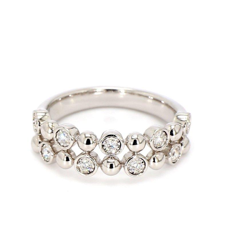 14Kt Bubble Style Double Row Diamond Ring