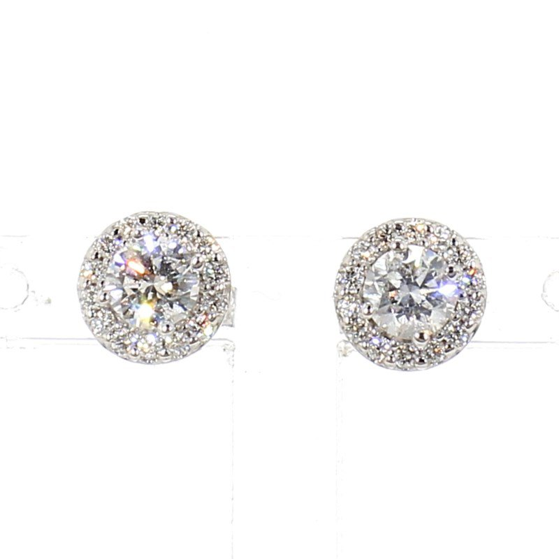 3/4ct. Diamond Halo Earrings