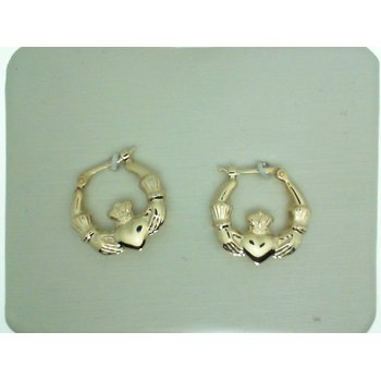 Yellow Gold Claddagh Hoop Earrings