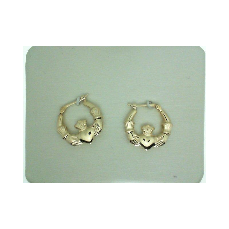 Yellow Gold Claddagh Hoop Earrings