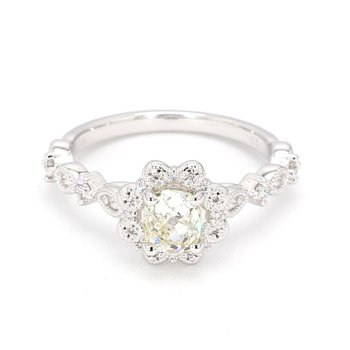 .92 Carat Floral Halo Diamond Engagement Ring