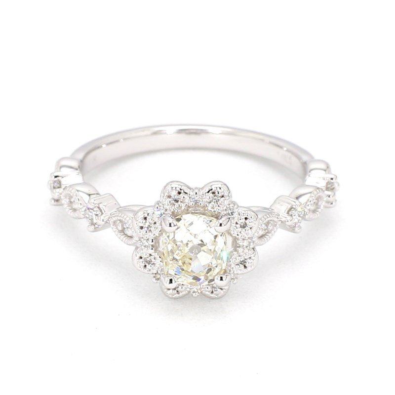 .92 Carat Floral Halo Diamond Engagement Ring
