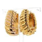 14KT Yellow Gold Twisted Oval Hoop Estate Earrings