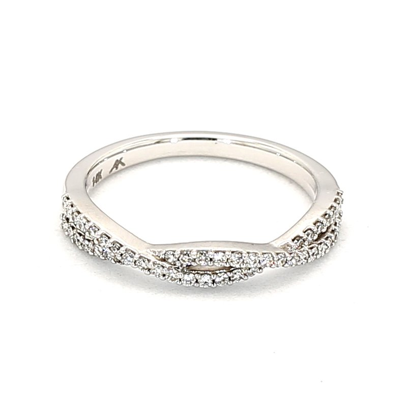 1/4ct Diamond Ring.25 Carat Diamond Infinity Style Anniversary Ring Consisting of 46 Stones Crafted in 14 Karat White Gold
