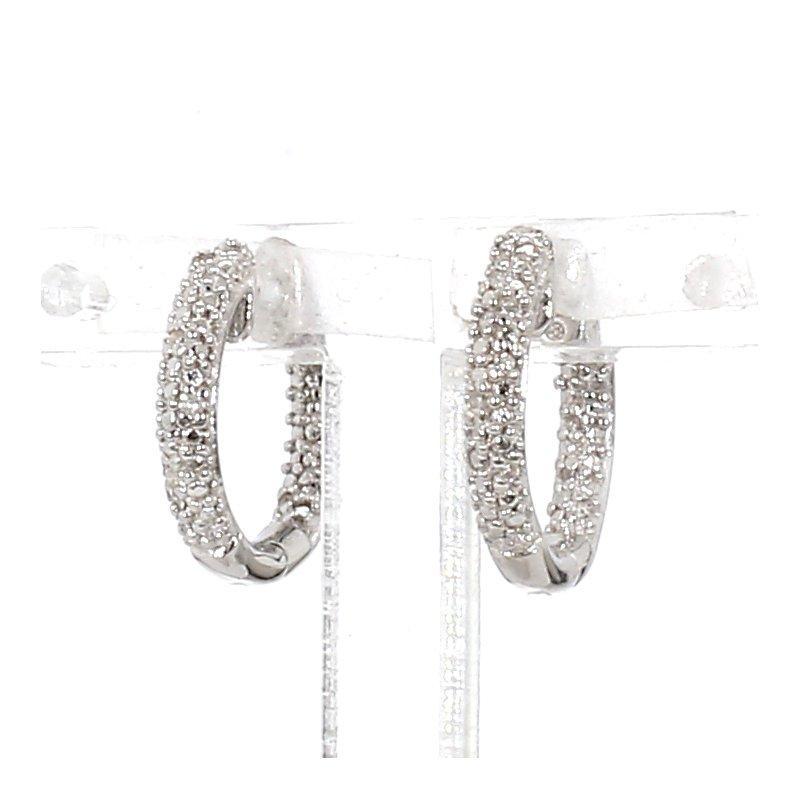.06ct Pavé Diamond Hoop Earrings