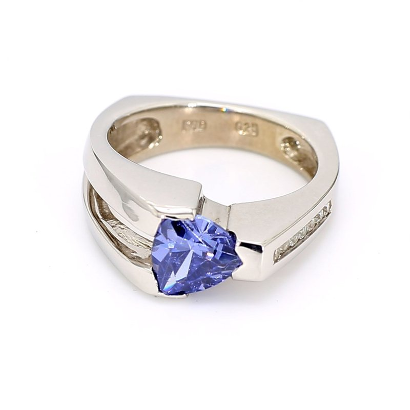 Sterling Silver Tanzanite And White Sapphire Ring