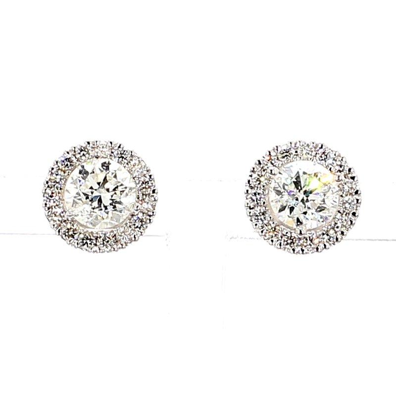 1 9/10ct Diamond Halo Stud Earrings