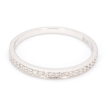 .08 Carat Diamond 14 Karat White Gold Wedding Or Anniversary Band
