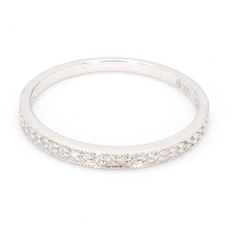 .08 Carat Diamond 14 Karat White Gold Wedding Or Anniversary Band