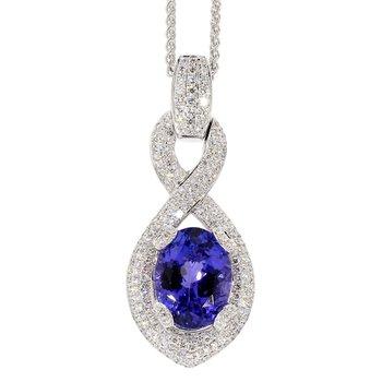8.14 Carat Tanzanite And Diamond Pendant
