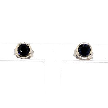 .40ct Blue Sapphire Bezel Petite Style Earrings