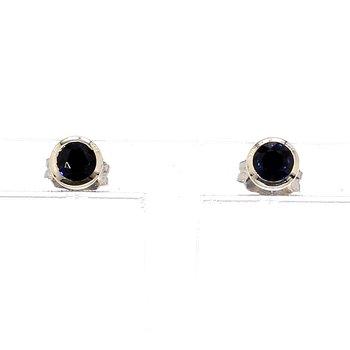.40ct Blue Sapphire Bezel Petite Style Earrings