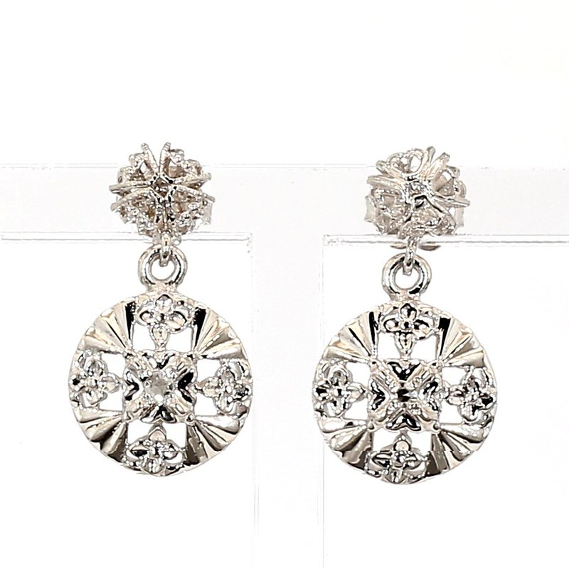 .06ct Diamond Circular Drop Earrings