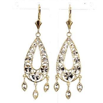 14KT Two tone Gold Drop Earrings