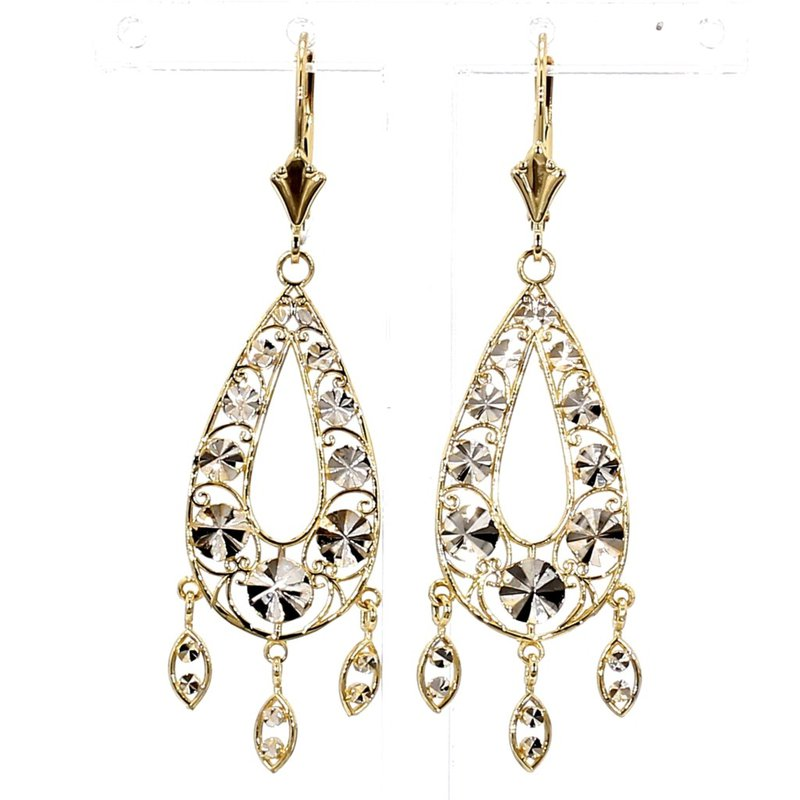 14KT Two tone Gold Drop Earrings
