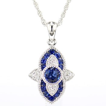 3/4ct Sapphire & Diamond Pendant