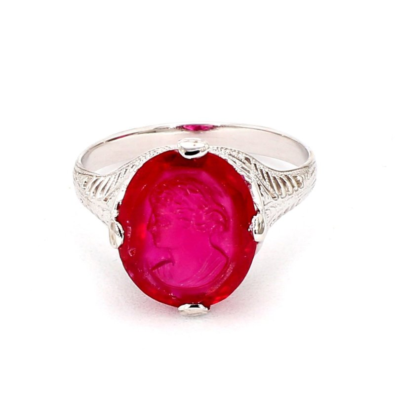 Antique Ruby Carved Cameo Ring