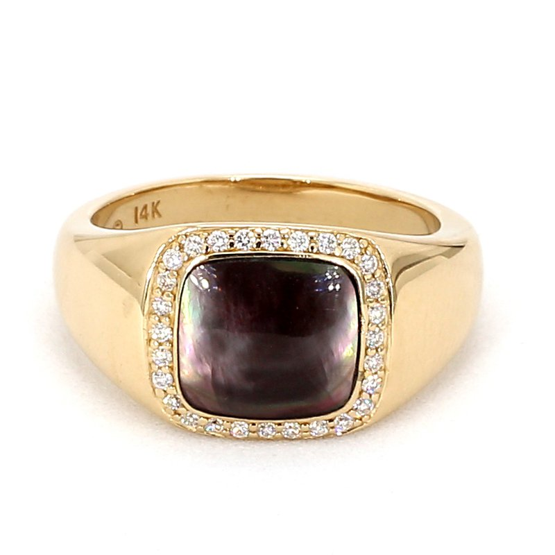Men's Mother Of Pearl & Diamond Ring