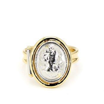 Estate Italian Carved Cameo 18 karat Yellow Gold And Platinum Ring