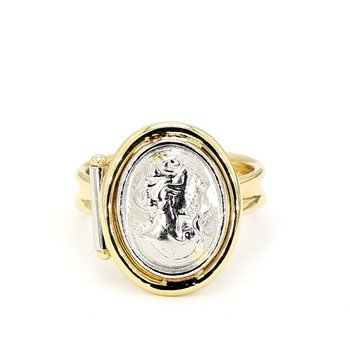 Platinum Carved Cameo & 18k Itilian Designer Ring