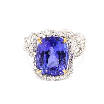 Tranzanite And Diamond Ring