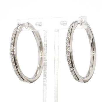 .06ct. Pavé Diamond Hoop Earrings