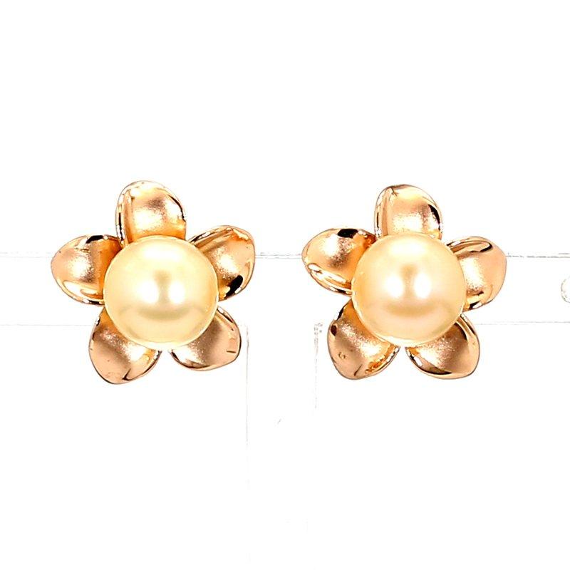 14KR 7-7.5MM Pearl Floral Design Stud Earrings