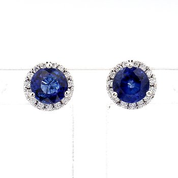 1.34ct Sapphire & Diamond Halo Earrings