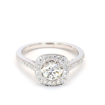 1.01 Carat Diamond Halo Engagement Ring