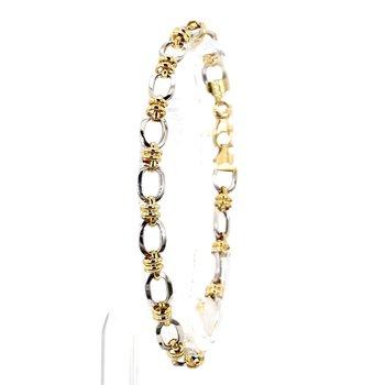 14KT Two Toned Fancy Link Gold Bracelet