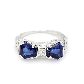 2.00 Carat Blue Sapphire And .01 Carat Diamond Estate Antique Engagement Ring With Filigree Hand Carving 14 Karat White Gold