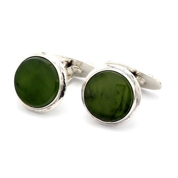 Sterling Silver And Hand Carved Jadeite Estate Cufflink Set