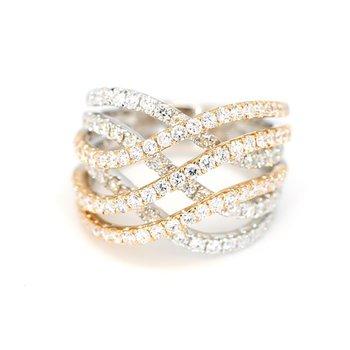 2.07 Carat 18 Carat Two Tone 18 Karat Gold Fashion Ring