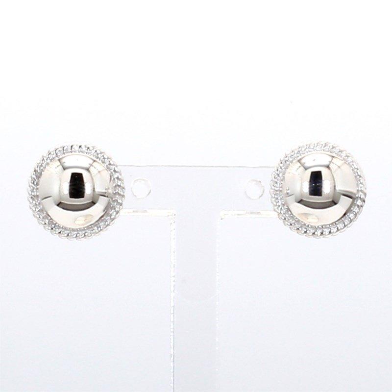 White Gold Domed Earrings