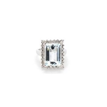 8.12ct Estate Aquamarine & Diamond Ring
