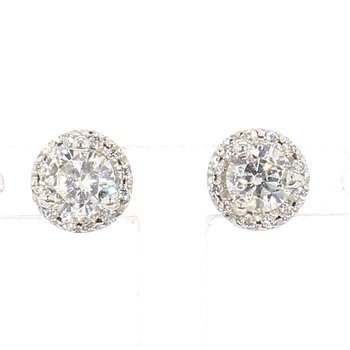 3/4ct Diamond Halo Earrings