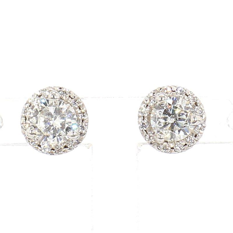 3/4ct Diamond Halo Earrings